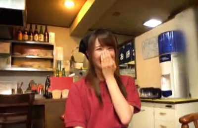 Japanese av model. Smiley Japanese Model in the kitchen gets