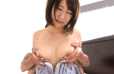 Himari wakana. Beauty Asian Himari poses topless in front her