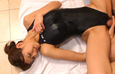 Minami aoi. Skinny Minami Aoi in swim suit pounded heavy right on the floor