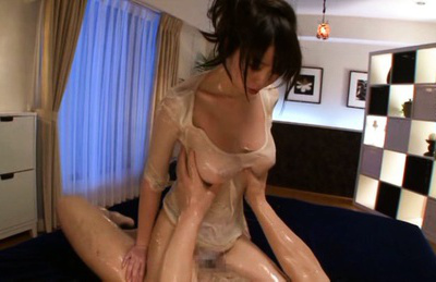 Aika yumeno. Oiled Aika Yumeno rides cock and looks large with her large tits