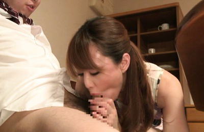 Akiho yoshizawa. Akiho Yoshizawa Asian in charming dress gives cock sucking to her boss