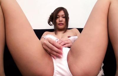 Hikaru konno. Hikaru Konno Asian teases clit with dildo on and