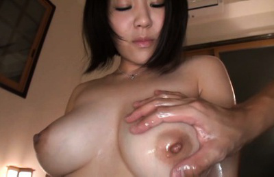 Kazari hanasaki. Lascivious Kazari Hanasaki excites with voluminous boobs getting it oiled