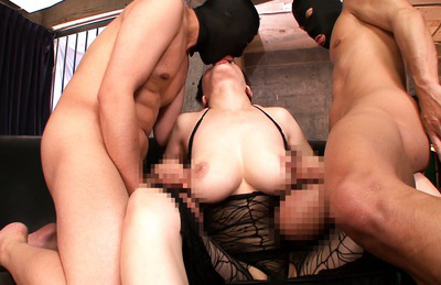 Anri okita. Curvy Anri Okita meets two men for a wild sex after jerk-off