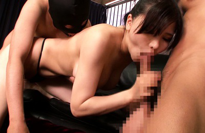 Anri okita. Horny Anri Okita fucks wild with two boys in amazing poses