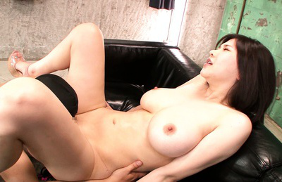 Anri okita. Spicy Anri Okita makes love on the black sofa with her new lover
