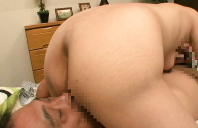 Ayumi takanashi. Ayumi Takanashi presses tits of man while suc his phallus