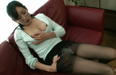 Ayumi takanashi. Ayumi Takanashi Asian rubs nipples and plays with hairy beaver