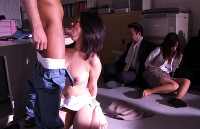 Asuka. Asuka Asian doll has kitty licked on office