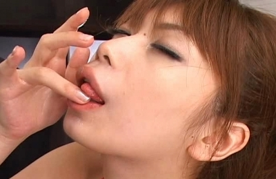 Hikari Hino with a load of cum in her mouth after giving blowjob